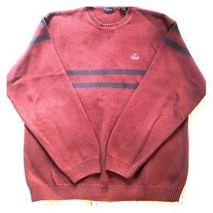 Deep maroon with blue stripe men's sweater